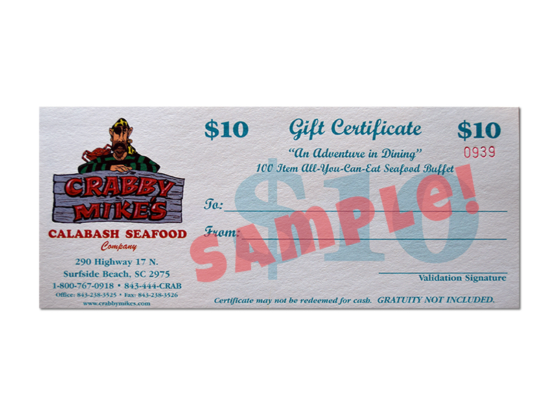 $10 Gift Certificates