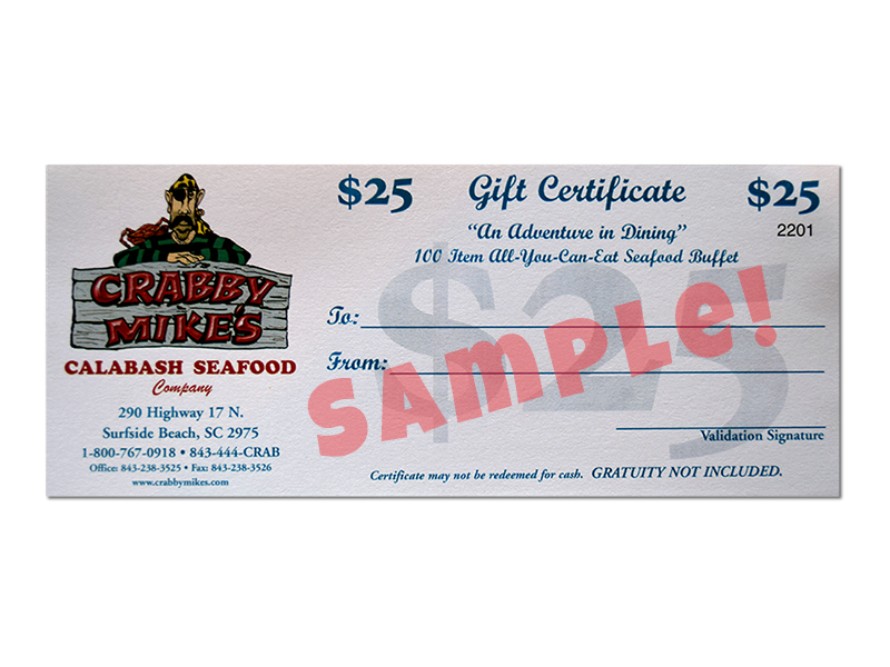 $25 Gift Certificates
